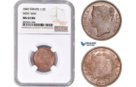 AD236, Straits Settlements, Victoria, 1/2 Cent 1845 with WW, NGC MS63BN
