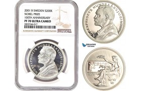 AD239, Sweden, Nobel Prize Centennial 200 Kronor 2001, Stockholm, Silver, NGC PF70UC, Top Pop