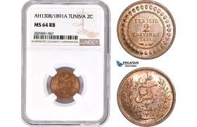 AD241, Tunisia, 2 Centimes AH1308 / 1891-A, Paris, NGC MS64RB, Pop 3/3