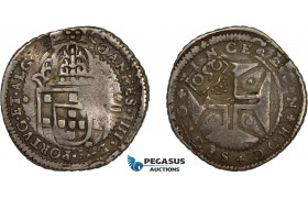 """AD295, Portugal, Pedro II, 250 Reis ND (1688) Lisbon, Silver, countermarked """"Crowned 2SO"""" on 200 Reis ND, Toned VF"""