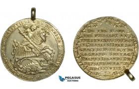 AD307, Germany, Saxony, Taler 1678, Dresden, Silver (24.34g) Gilt, Tooled fields, Mount, XF