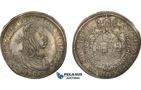 AD320, Austria, Leopold, Taler 1660, Graz, Silver (28.91g) Voglh. 220/I, Toned Good VF, Rare!