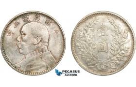 "AD321, China ""Fat Man"" Dollar Yr. 3 (1914) Silver, Lightly cleaned aUNC"