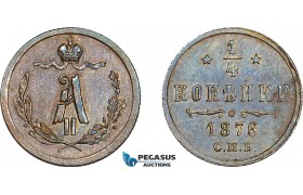 AD398, Russia, Alexander II, 1/4 Kopek 1876 СПБ, St. Petersburg, Cleaned AU