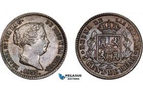 AD401, Spain, Isabella II, 5 Centesimos 1855, Segovia, Cleaned AU-UNC