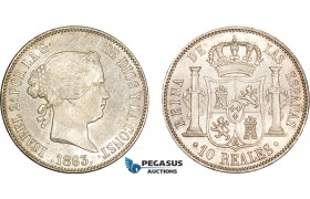 AD403, Spain, Isabella II, 10 Reales 1863, Silver, Cleaned UNC