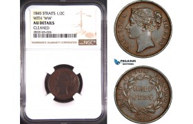 AD769, Straits Settlements, Victoria, 1/2 Cent 1845, With WW, NGC AU Det.