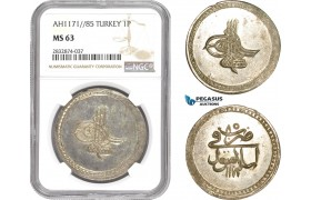 AD785, Ottoman Empire, Turkey, Mustafa III, Piastre AH1171/85, Islambul, NGC MS63, Pop 1/0