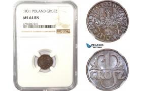 AD978, Poland, 1 Grosz 1931, Warsaw, NGC MS64BN