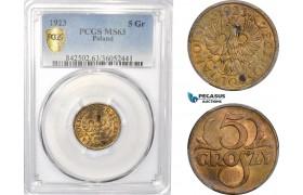 AD982, Poland, 5 Groszy 1923, Warsaw, PCGS MS63