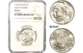 AD983, Poland, 5 Zlotych 1936, Silver, NGC MS62