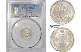 AD985, Russia, Alexander II, 10 Kopeks 1861 СПБ-ФБ, St. Petersburg, PCGS MS64