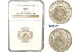 AD986, Russia (Soviet) 15 Kopeks 1923, Leningrad, Silver, NGC MS65