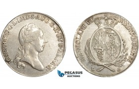 AE040, Italy, Lombardy, Joseph II, Scudo (6 Lire) 1785 LB, Milan, Silver (23.12g) Cleaned XF