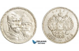AE056, Russia, Nicholas II, Rouble 1913 (Romanov Dynasty) St. Petersburg, Silver, Scratches, Cleaned VF-XF