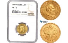 AE227, Russia, Alexander III, 5 Roubles 1889 АГ, St. Petersburg, Gold, NGC MS62