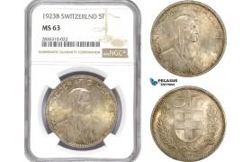AE230, Switzerland, 5 Francs 1923-B, Bern, Silver, NGC MS63