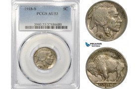 AE231-R, United States, Buffalo Nickel (5C) 1918-S, San Francisco, PCGS AU53