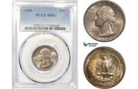AE232-R, United States, Washington Quarter (25C) 1932, Philadelphia, Silver, PCGS MS62
