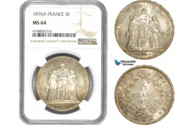 AE313, France, Third Republic, 5 Francs 1876-A, Paris, Silver, NGC MS64
