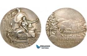 AF011, France, Silver Art Nouveau Medal (Ø41mm, 36.5g) by Vernon, Train, East Railroad