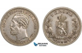 AB566, Norway, Oscar II, 1 Krone 1900, Kongsberg, Silver, Partial luster, VF-XF