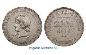 B03, Brazil, 2000 Reis 1906, Silver, Nice!