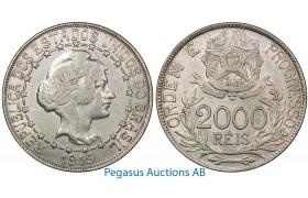 B04, Brazil, 2000 Reis 1913, Silver, Nice!