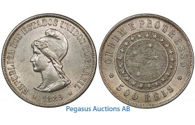 B05, Brazil, 500 Reis 1889, Silver, High Grade!