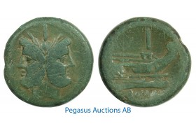 B35, Roman Republic, AS, Bronze (33.68g) Head of Janus/Roma, Olive Green Patina!