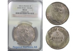 B61, France, Louis Philippe I, 5 Francs 1831-A, Bare Head-Incuse, NGC MS63 Pop 1, Rare Grade!