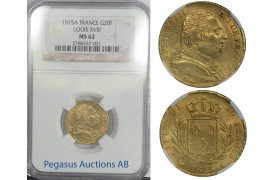 B63, France, Louis XVIII, 20 Francs 1815-A, Gold, NGC MS62