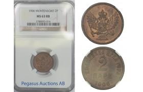 B66, Montenegro, Nicola I, 2 Pare 1906, NGC MS63RB