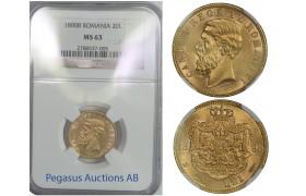 B73, Romania, Carol I, 20 Lei 1890, Gold, NGC MS63