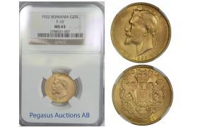 B75, Romania, Ferdinand, 20 Lei 1922, Gold, NGC MS63
