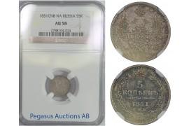 B78, Russia, Nicholas I, 5 Kopeks 1851-PA, Silver, NGC AU58