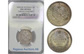 B81, Russia, Alexander II, 25 Kopeks 1856-FB, NGC UNC.