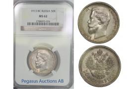 B82, Russia, Nicholas II, 50 Kopeks 1913-VS, NGC MS62