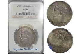B85, Russia, Nicholas II, Rouble 1897 (**), Brussels, Silver, NGC AU50