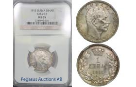 B89, Serbia, Petar I, Dinar 1915, Silver, KM-25.3, NGC MS65 Pop 1/2