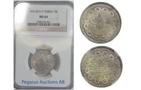 B93, Ottoman Empire/Turkey, Muhammad V, 5 Kurush AH1327/7, NGC MS64