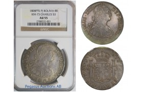 B98, Bolivia, Charles IV, 8 Reales 1808-PTS, Potosi, Silver, NGC AU55
