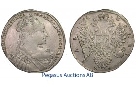 C07, Russia, Anna, Rouble 1734, Moscow, Silver (25.56g) Removed Mount! Bitkin 94 (R1)
