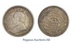 C09, South Africa (ZAR) 2-1/2 Shillings 1892, Silver, Original Toning!