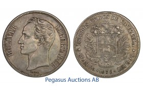 C21, Venezuela, 5 Bolivares 1936, Silver, Very nice with a great toning!