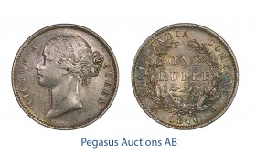C32, India, British, Victoria, Rupee 1840, Calcutta, Silver, Toned High Grade!