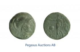 C47, Pamphylia, Side, Æ 15 (2.75g) Athena, Nike, Olive Green Patina