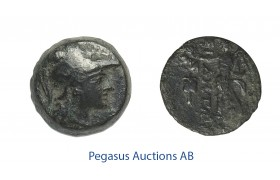 C48, Pamphylia, Side, Æ 15 (3.85g) Athena, Nike, Brown Patina