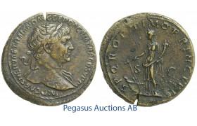 C52, Roman Empire, Trajan (98-117 AD) Æ Sestertius (24.28g) Rome, Struck 103-111 AD, Fortuna