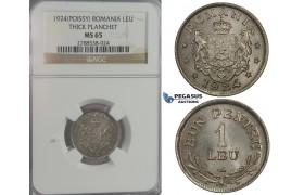 C94, Romania, Ferdinand I, Leu 1924 (Possy) NGC MS65